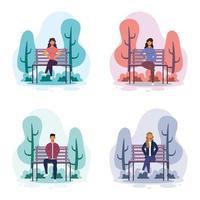 jovens sentados na cadeira do parque vetor