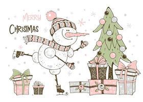 cartão de natal com boneco de neve árvore de natal e presentes vetor