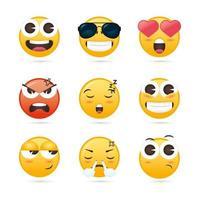 coleção fofa de emoji vetor