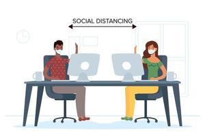 pessoas com máscara facial distanciamento social no trabalho vetor