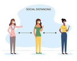 distanciamento social de mulheres diversas com máscaras faciais vetor
