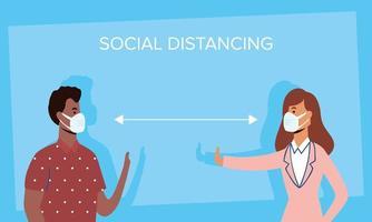 diversas pessoas distanciamento social com máscaras faciais vetor