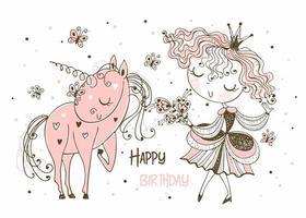 cartão de aniversário de uma princesa e um unicórnio vetor