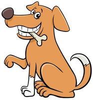 desenho animado sentado cão personagem animal com osso