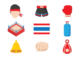 muay thai icons vector