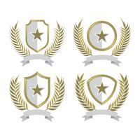 Orelhas de trigo Emblemas Vintage vetor
