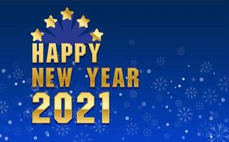 feliz ano novo 2021 design com flocos de neve