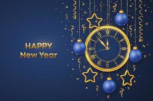 feliz ano novo 2021. relógio dourado brilhante