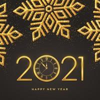 feliz ano novo ouro metálico números 2021 vetor