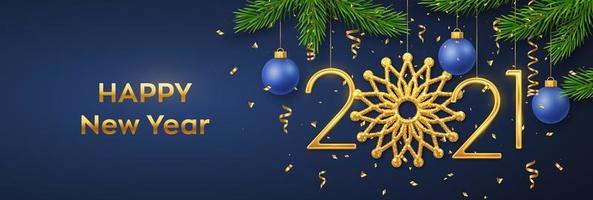 feliz ano novo de 2021. pendurar números dourados 2021 vetor