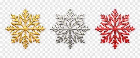 flocos de neve brilhantes dourados, prateados e vermelhos