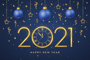 feliz ano novo números metálicos dourados 2021