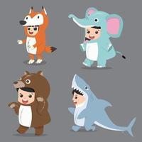 conjunto de personagens de desenhos animados infantis em fantasias de animais