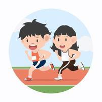 jovem e mulher correndo maratona na pista de corrida vetor