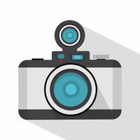 câmera fotográfica retro com sombra longa