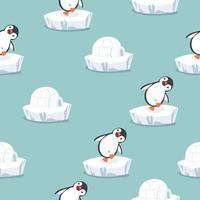 pinguim engraçado com padrão iglu casa de gelo vetor
