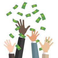 mãos de negócios pegam dinheiro caindo vetor