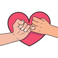 promessa mindinho com formato de coração vetor