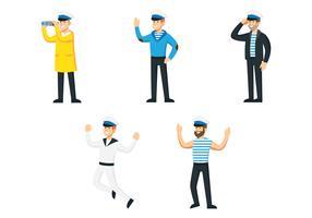 Jogo de personagens de marinheiros vetor