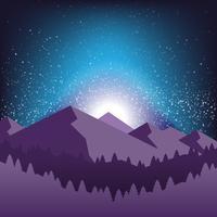 Céu noturno estrelado e silhueta da ilustração da montanha