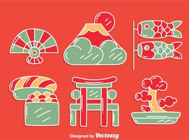 Vector de cultura japonesa desenhada à mão