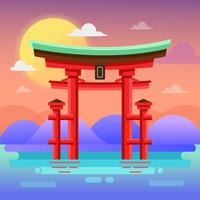 Santuário de Itsukushima vetor