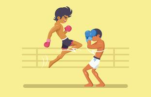 Lutadores de boxe tailandeses lutando contra o anel vetor