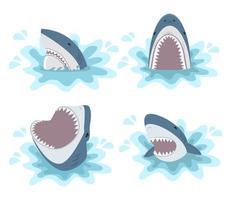 conjunto de tubarão com mandíbulas abertas