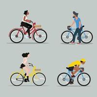homem e mulher andando de bicicleta vetor