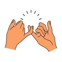 mãos mindinho promessa gesticulando
