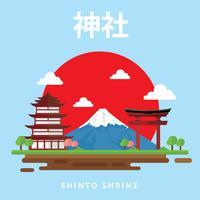 santuário de xintoísmo vetor livre