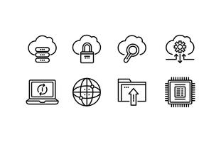 Pacote de ícones Cloud Computing vetor
