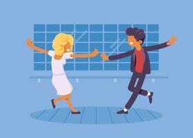 Casal Fazendo Ilustração de Tap Dance vetor