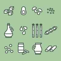 Ícones verdes da proteína vegana vetor