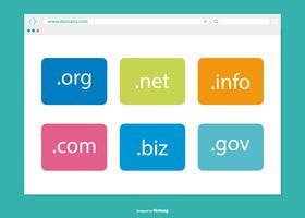 Janela do navegador com ilustração de domínios vetor