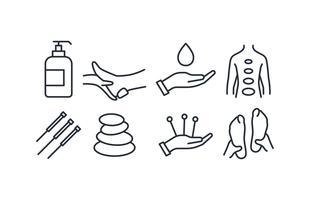 Conjunto de ícones de terapia vetor