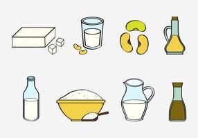 Coleção gratuita de vetores de ingredientes de tofu