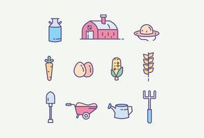 Pack gratuito de ícones da fazenda vetor