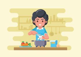 Mãe nova prepara tofu para cozinhar vetor