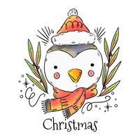 Vetor bonito do pinguim do natal