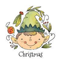 Cute Santa Elf Smiling Vector