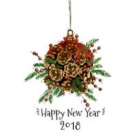 Natal e Ano Novo, vetor de decoração de cones de pinho