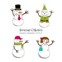 Vetores de personagem desenhados a mão de boneco de neve