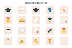 Livre diploma e vetores de graduação