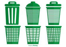 Coleção de vetor de cesta de lixo