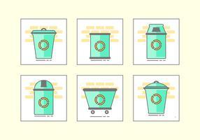 Conjunto de ícones de cesta de lixo verde