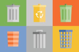 Pacote Ícone da cesta de lixo vetor