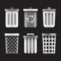 Cesta de resíduos realista vetor