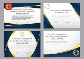 Conjunto de certificado de luxo do diploma azul