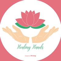 Mãos de cura segurando ilustração de flor de lótus vetor